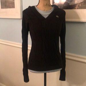 Lacoste🖤 size medium V-neck sweater with hood